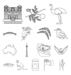 Country australia outline icons in set collection vector