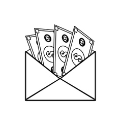 Envelope with money bills vector