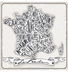 France Map on Vintage Handwriting Page vector image vector image
