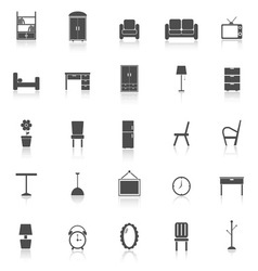 Furniture icons with reflect on white background vector