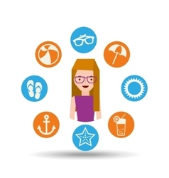 girl glasses character summer vacation icons set vector image