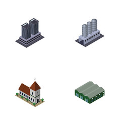 Isometric construction set of tower chapel vector