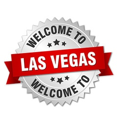 Las vegas 3d silver badge with red ribbon vector