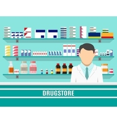 Modern interior pharmacy with male pharmacist vector