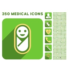 Newborn Icon and Medical Longshadow Icon Set vector image