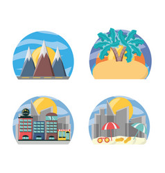 Set landscape places to travel destination vector