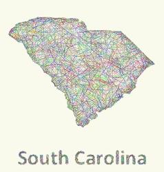 South Carolina line art map vector image vector image