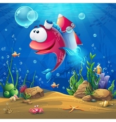 Underwater world with funny fish background vector image vector image