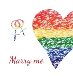 wedding heart card vector image vector image