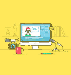 Workplace of blogger or video editor vector
