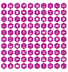 100 partnership icons hexagon violet vector