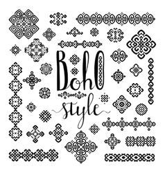Borders and decoration ethnic signs with boho vector