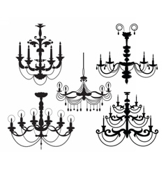 Classic luxury black chandelier set vector