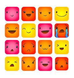emoticon square doodle 8 vector image