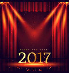 stage background with 2017 golden text and lights vector image