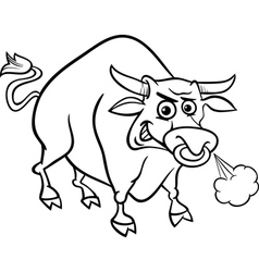 Bull farm animal coloring page vector