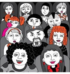 People in the audience cinema vector
