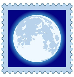 Full moon on stamp vector