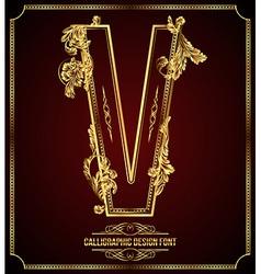 Calligraphic font letter v vector