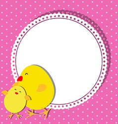 Chick and chicken on card design for mothers day vector