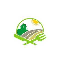 Farm house nature food restaurant logo vector