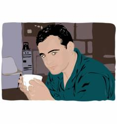 Man drinking coffee vector