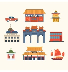 Traditional Chinese Buildings Hong Kong travel vector image