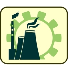 Energy generation atom station and gear icons vector