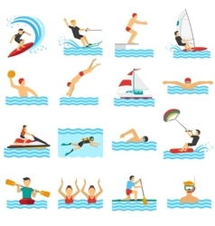 Water sport decorative icons vector