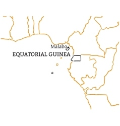 Equatorial guinea hand-drawn sketch map vector