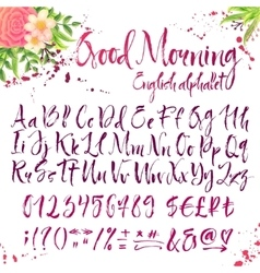 Calligraphic english alphabet with decorations vector
