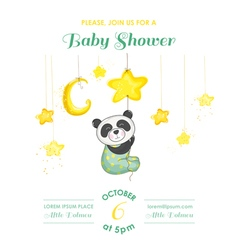 Baby Shower Card - Baby Panda Catching Stars vector image vector image