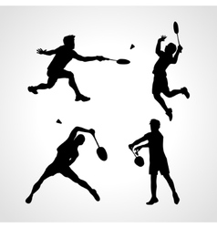 Badminton players silhouettes set vector