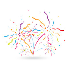 colorful confetti blowing out with ribbon vector image vector image