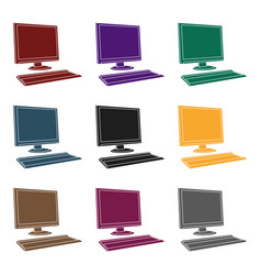 computer icon in black style isolated on white vector image vector image