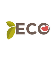 eco word with heart vector image vector image