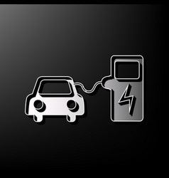 Electric car battery charging sign gray vector