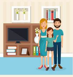 Family members in the living room vector