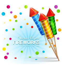 Festive background with firecrackers and confetti vector