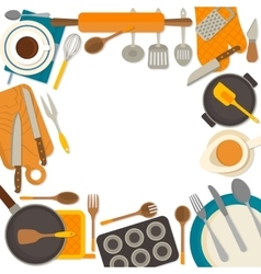 Flat design frame of kitchenware isolated on white vector image