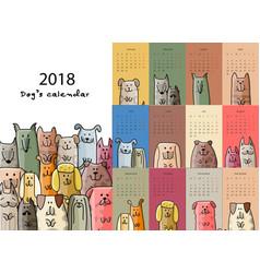 Funny dogs calendar 2018 design vector
