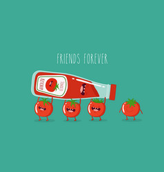funny tomato ketchup and tomato friend forever vector image