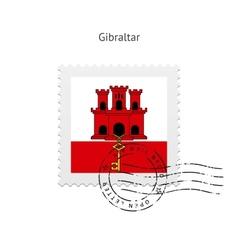 Gibraltar flag postage stamp vector