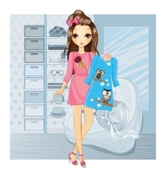 Girl Holding Dress In Store vector image vector image