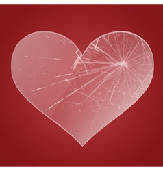 Glass broken heart vector image vector image