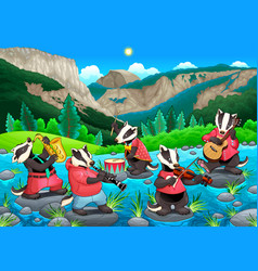 Group of funny badgers are playing music vector