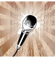 grunge microphone vector image vector image