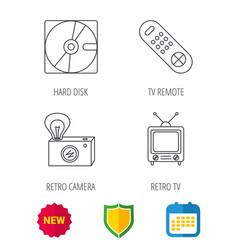 Hard disk retro camera and tv remote icons vector