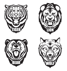 heads of wild animals vector image