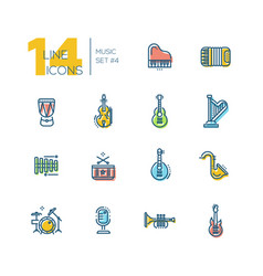 musical instruments - thick line icons set vector image vector image